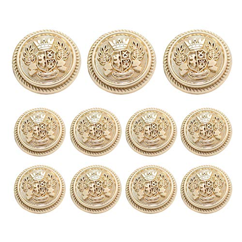 Grekywin High-Grade British Style Metal Buttons for Coat, Blazer, Suits, Uniform, Jacket, etc, Crown Style (Gold) ()