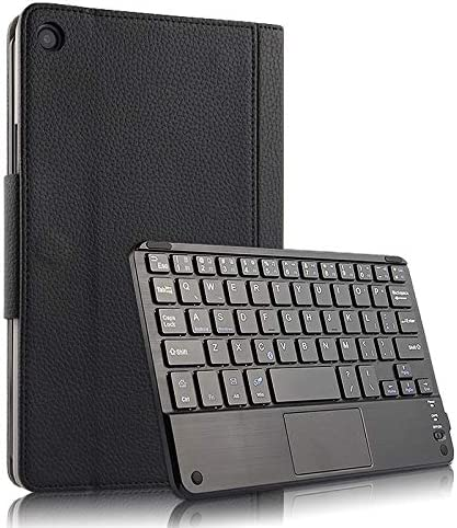 Forhouse Funda con Teclado para Xiaomi Mi Pad 4 Plus 10 Inch, Ultra liviano Teclado Inalánbrico Bluetooth 3.0 USA QWERTY Funda Libro de Cuero Magnética Carcasa Negro