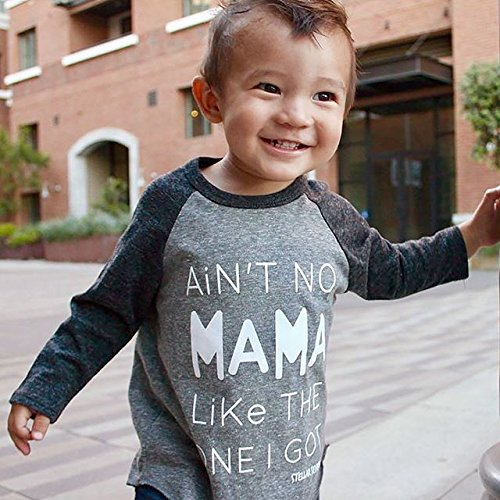 Baby Boys Girls Aint No Mama Like The One I Got Print Long Sleeve Gray T-Shirt Tank Tops Tee Cami Shirt