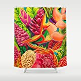 Shower Curtain, Tropical Hawaii Home Decor art by Michal - Contemplation Flowers - Kauai - 71x74'' - Tropical bathroom Island style