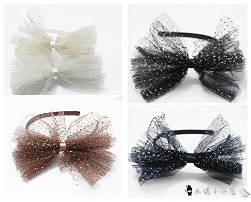 Naughty 3 Piece - Korean children hair accessories small mesh lace sweet princess flower head piece lovely naughty party shiny hair bands headband for women girl lady