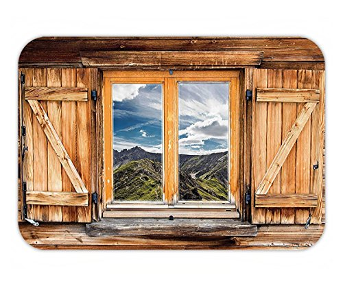 Beshowere Doormat Apartment Decor Mountain and Sky View from a Wooden Shuttered Window Room on Top of the HillNature Look Polyester Fabric Bathroom Extra Long Multi.jpg - Cal Look Window