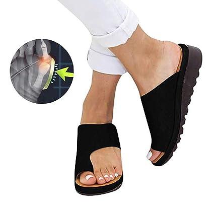 Sandalias de Mujer cómodos Plataformas Plana Cuero de PU Zapatillas Corrector de juanetes ortopédico Casuales Antideslizante