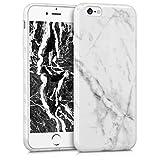 kwmobile Funda para Apple iPhone 6 / 6S - Case para móvil en TPU silicona - Cover trasero Diseño Mármol en blanco negro