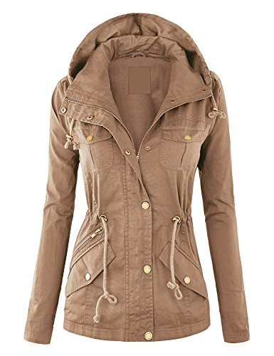 WJC643 Womens Pop Of Color Parka Jacket L Khaki by Lock and Love