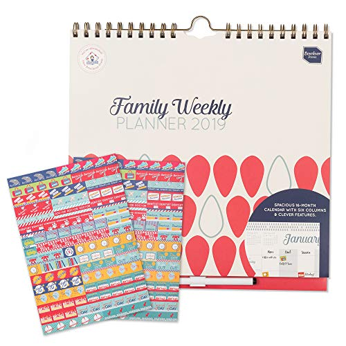 Weekly Family - 2019 Wall Calendar Boxclever Press Family Weekly Planner. Week-to-View 6 Columns for Busy Moms. Family Organizer with Tear-Out Grocery Lists, Stickers, Paperwork Pocket, Clip-on Pen. Use Till Dec '19