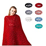 SPRINGWIND Chunky Knit Blanket Handmade Bulky Soft Bed Sofa Throw Blanket Inch (4060 inch, Red)