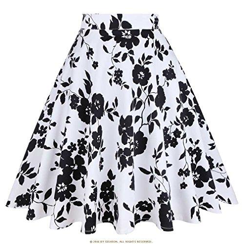 t Jupe Noire Femmes Taille Haute, Plus la Taille imprim Floral  Pois Femmes Jupes d't Skater 50 s Vintage Midi Jupe Blackwhite