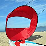 Flashsolar Red Downwind Wind Sail Kit 42 inches Kayak Canoe Accessories, Easy Setup & Deploys Quickly, Compact & Portable