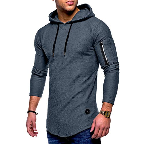 HGWXX7 Men's Fashion Solid O Neck Long Sleeve Muscle Tee T-Shirt Tops Blouse (L, ()