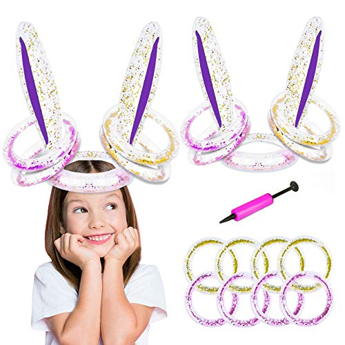 GAMENOTE 2 Pack Easter Inflatable Bunny Ears Glittering Ring Toss Game, Rabbit Toys Gift for Kids, Easter Party Favors…