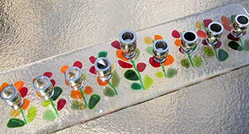 Fused Glass Menorah Hanukkah Menorah Glass Blooming Branches Hanukkah Candles in Red Chanukiah Judaica Wedding Gift Wedding Registry