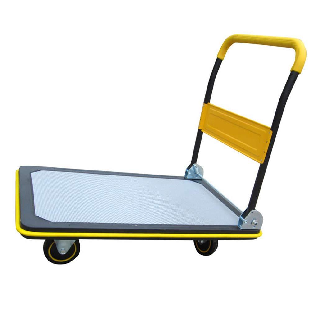 ショッピングキャリー プラットフォームトロリー ショッピングカート フォールディングトラッ クトレーラー フラットベッドトラック付き 最大積載量300 kg (Color : Yellow, Size : 72*48*83cm) B07L1PC8L5 Yellow 72*48*83cm
