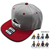 Fortnite Battle Royale Unisex Adjustable Hats with Minifigure Hip Hop Baseball Caps for Boys Girls (Fortnite Hat/Cap, Red/Gray)