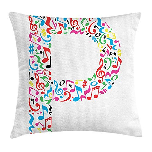 2019 new fashion Letter P Throw Pillow Cushion Cover, Notes of Music Harmoniously Combined Creating Capital P Alphabet ABC Design Print, Decorative Square Accent Pillow Case, 18 X 18 Inch, Multicolor
