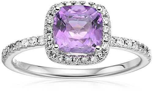 10k White Gold African Amethyst and Diamond Cushion Halo Engagement Ring (1/4cttw, H-I Color, I1-I2 Clarity), Size 7 - African White Gold Ring