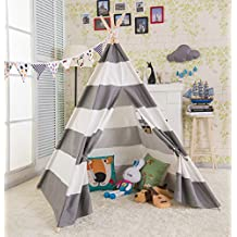 AniiKiss 6' Giant Canvas Kids Play Indian Teepee Children Tipi Play Tent - Grey and White Stripes