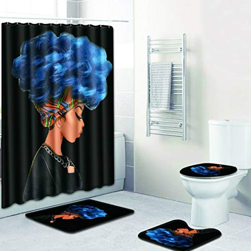 Emivery African Women Printing Toilet Pad Cover Bath Mat Shower Curtain Set 4-Piece Set,Black