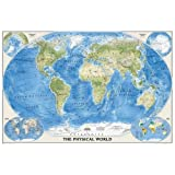 The Physical World, poster size, tubed : Wall Maps World (National Geographic Reference Map)