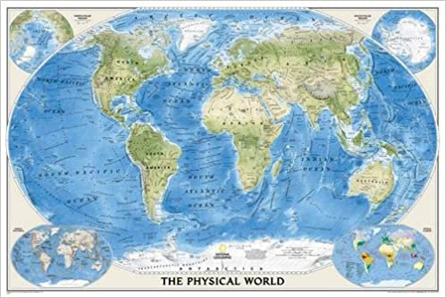 The Physical World Poster Size Tubed Wall Maps World National - Wall maps of the world