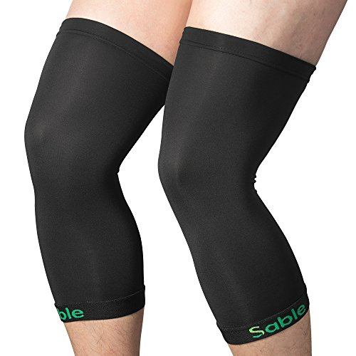 Sable Knee Brace Copper Support Compression Sleeves, 1 Pair FDA Registered Knee Wraps for Arthritis, ACL, Running, Pain Relief, Injury Recovery, Basketball and More Sports, L
