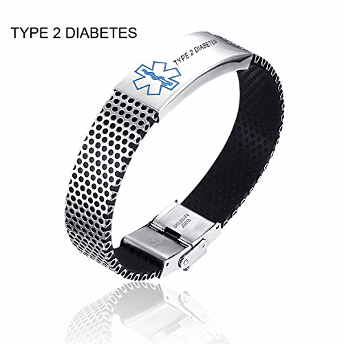 CF Men's Stainless Steel Silicone Blue Medical Alert TYPE 2 DIABETES Engraved Cuff Bracelet Bangle,22cm