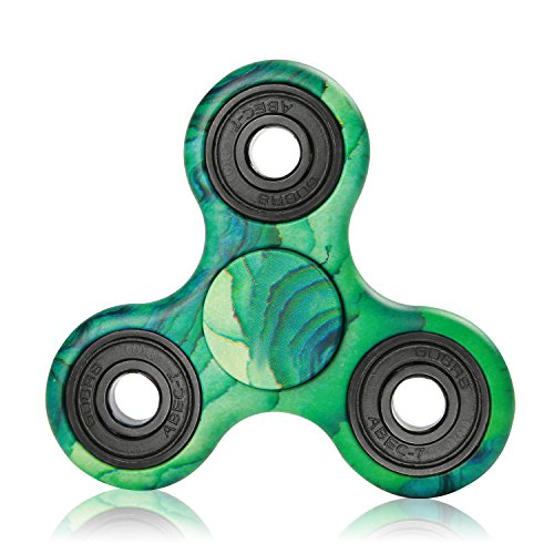 NOING Tri Fidget Hand Spinner Camouflage Multi-Color Double Side Printed, EDC Focus Toy For Kids & Adults (Turquoise)