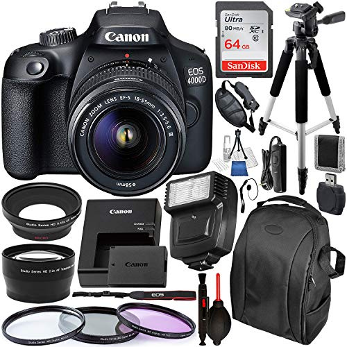 Canon EOS 4000D/Rebel T100 DSLR Camera with 18-55mm III Lens and Essential Accessory Bundle - Includes SanDisk Ultra 64GB SDXC Memory Card & Digital Slave Flash & 3PC Multi-Coated Filter Set & MORE