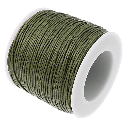 OLIVE GREEN 1mm Waxed Cotton Braided Cord Wax Polished Macrame Beading Artisan String (80yards Spool) ()
