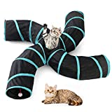 FOONEE Pet Cat Tunnel Toys 4 Way,Indoors Collapsible Cat Tunnels Tubes with Storage Bag,Large Cat Tunnel Play Toy Crinkle for Kitty, Puppy, Rabbits, Kitten, Guinea Pig Outdoor Playing