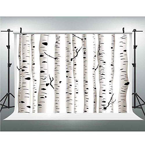 Vinyl Photography Background,Birch Tree,Photography Backdrop Studio Props,3.28x5ft,Forest Seasonal Nature Woodland Leafless Branches Grove Botany Illustration Decorative