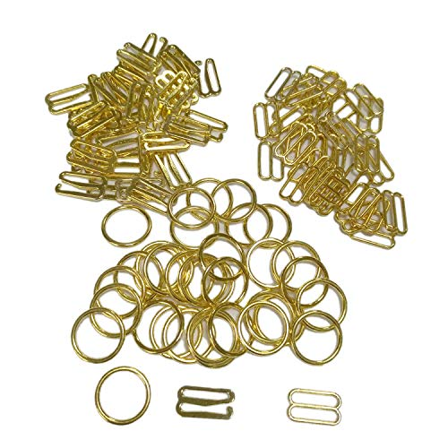 Mangocore 100 pcs / lot bra Silver/Gold/Rose Gold hook ring slider 10mm/12mm/15mm (15mm gold color)