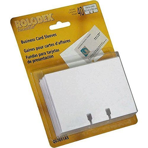 Rolodex Business Card Tray Refill Sleeves, Holds 2 of 2.625 x 4 Inch Cards, White, 40 per Pack (67691)