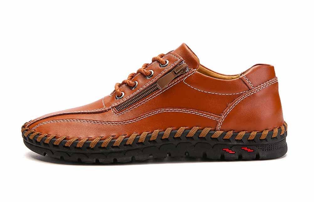 GLSHI Hombres Casual Cuero Zapatos Nuevo Moda Lado Cremallera Plano Zapatos Hecho Mano Ante Para Caminar Zapatos (Color : Amarillo, tamaño : 45) 45|Amarillo