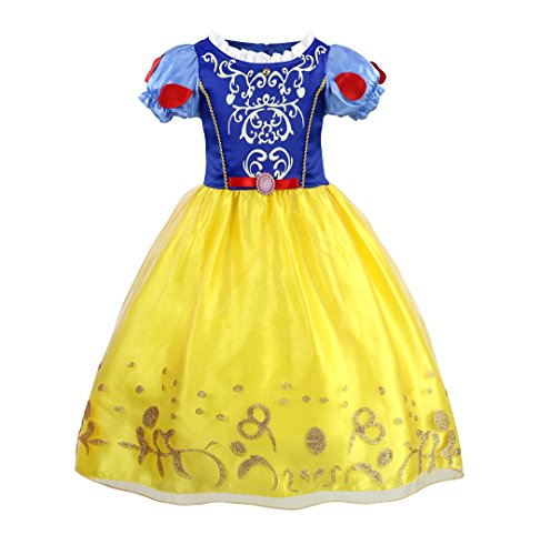 Bestfive Girls Puff Sleeve Dress up Costume Snow White Princess Dress Size 6