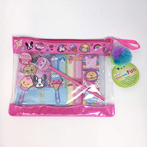 Hot Focus Sticky Note Fun, Sugar Crush. Pouch with Rainbow Pom Pom. Notepad, Pencil Sharpener, 3D Paper Clips, 11 Sticky Notes, Pencil with Eraser Topper. Best School Day Tools & - Paper Focus