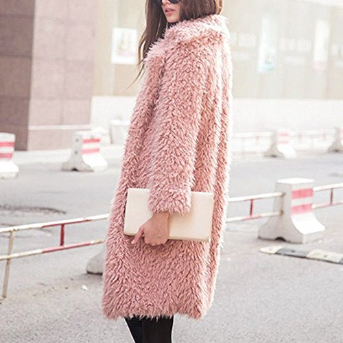 la Coat el Forme Outwear Parka mujeres invierno de Top Rosado señoras chaqueta a larga de caliente las Chaqueta Abrigo Cardigan de abrigo TXXEwHrxq