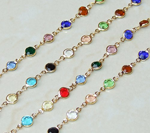 (Multicolored Glass Faceted Bezeled Bead Rosary Chain - Gold Plated Wire Wrapped Rosary Chain - 6mm Bead - Sold by the Foot)