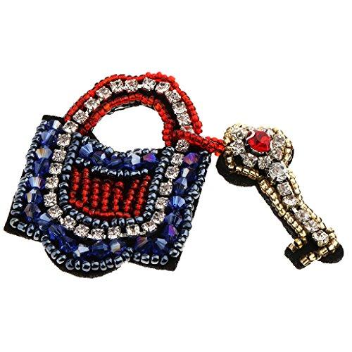 MonkeyJack 1 Piece Key Lock Beaded Rhinestone Patches Sew on Appliques Garment ()