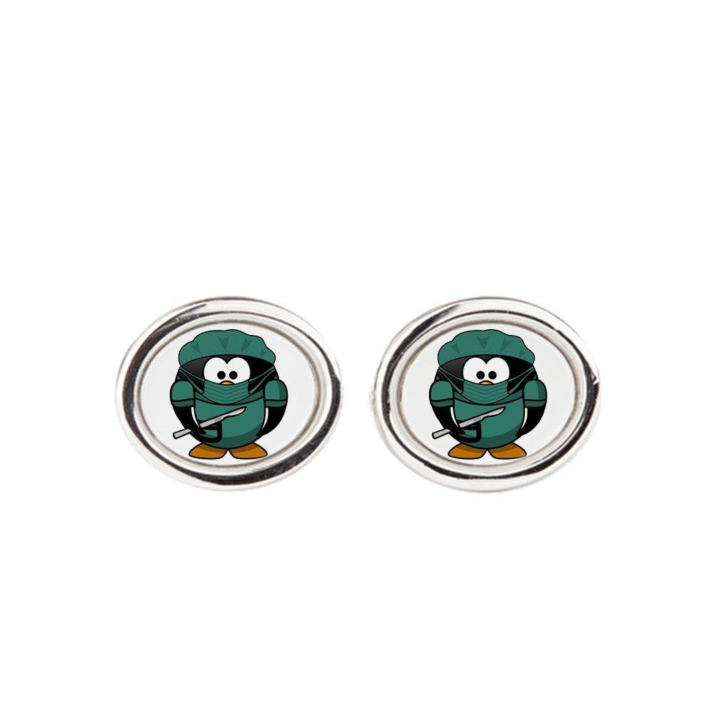 Oval Little Round Penguin Doctor Surgeon Cufflinks