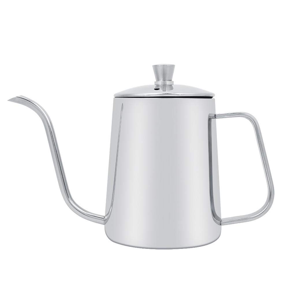 Mumusuki 550ml Stainless Steel Long Drip Gooseneck Spout Coffee Pot Hand Punch Kettle Long Mouth Teapot with Lid for Home Kitchen Coffee Shop