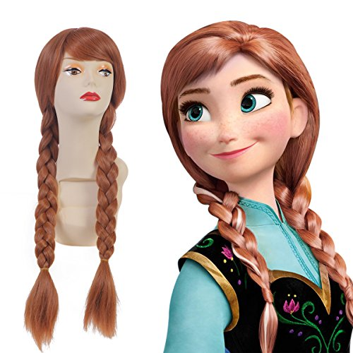 SARLA Disney Frozen Anna Princess Cosplay Wig Snow Queen For Adult Synthetic Movie Long Brown Dual Tail Costumes Party Halloween Braided Hair Wigs (Anna) …