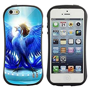 Hybrid Anti-Shock Bumper Case for Apple iPhone 5 5S / Glorious Blue Bird