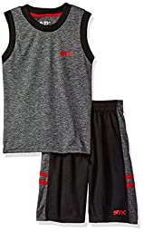 STX Big Boys\' 2 Piece Performance Tank and Short Set, Sh_Black and Red, 10