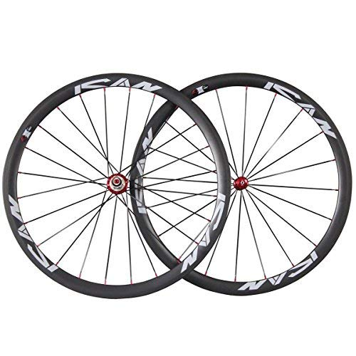 ICAN 38mm Road Bike Wheels Carbon Fiber Clincher Tubeless Ready with Straight Pull Carbon Hub Sapim CX-Ray Spoke ()