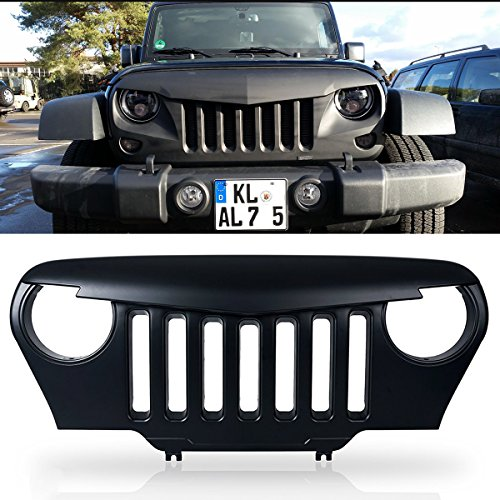 Front Angry Birds Grill Grille For Jeep Wrangler Rubicon Sahara TJ 1997-2006,Front Hood Bumper Matte Black