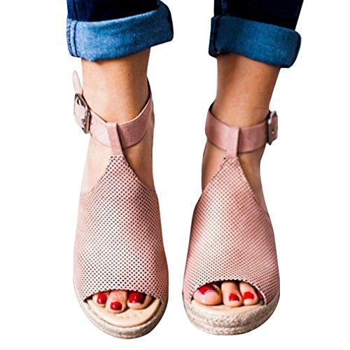 Suola Donna Gomma Sandali col Alto 35 Sandali Rosa Donna in 8 cm Marrone Scarpe Pelle Finta Sandali Eleganti Donna 6 43 Sandali Fibbia da Aperti Tacco ZwxnxTzHq0