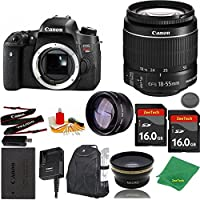 Great Value Bundle for T6S DSLR – 18-55mm STM + 2PCS 16GB Memory + Wide Angle + Telephoto Lens + Backpack