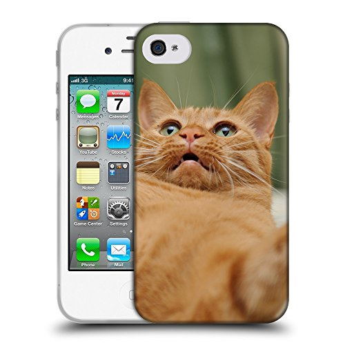Just Phone Cases Coque de Protection TPU Silicone Case pour // V00004234 ardent chat joue sur son dos // Apple iPhone 4 4S 4G