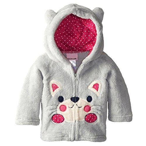 16 Full Zip Hooded Fleece (Zhuannian Baby/ Toddler Girls Boys Animal Pattern Full-zip Fleece Hooded Jackets (12-18 months, Light)